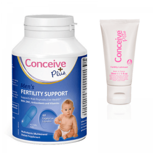 Conceive Plus Mens Fertility Sperm Enhance + 1 oz fertility lubricant